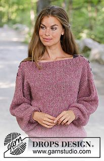 Raspberry flirt / DROPS - free knitting patterns by DROPS design - Raspberry Flirt / DROPS – Knitted sweater in 2 strands DROPS Brushed Alpaca Silk. Crochet Cardigan Pattern, Sweater Knitting Patterns, Crochet Shawl, Easy Crochet, Hand Knitting, Knit Crochet, Crochet Patterns, Knit Shrug, Drops Design