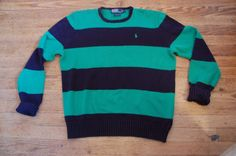 Polo Ralph Lauren Men's size L Large striped sweater Navy Blue and Green | Clothing, Shoes & Accessories, Men's Clothing, Sweaters | eBay!