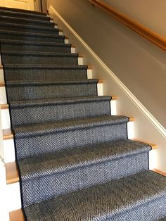 We are the carpet and rug experts in Boston. We will custom fabricate stair runners, area rugs and hall runners to fit your home perfectly. Best Carpet For Basement, Carpet Tiles For Basement, Basement Stairs, Carpet Stairs, Entry Stairs, Hall Carpet, Basement Bathroom, White Staircase, Wood Staircase