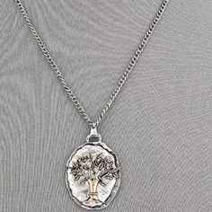 "Hammered Silver Plate Copper Tree Pendant Necklace Oh the fashion statement this piece is. I love the hammered look. The tree design is beautiful in detail. Main metal is alloy and copper. Has and 18"" chain with 3"" extender. Jewelry Necklaces"