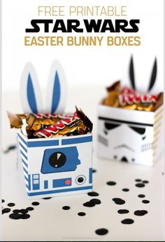 Paper Craft; Difficulty Level – Easy These Star Wars Gift Boxes have bunny ears as a feature, so are a fantastic idea to fill with chocolates and give to your loved ones for Easter. Alternatively, you can make them as a party favour for your Star Wars Themed Party. This website offers a free printable.