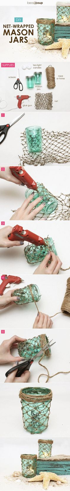 DIY net-wrapped mason jars for a romantic beach wedding