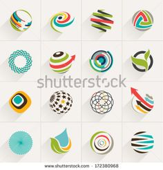 Abstract web Icons and globe vector logos - stock vector