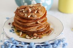 ok i know I'm obsessed with pancakes but Spicy sweet, vegan, Chai tea pancakes with maple syrup and toasted pecans...come on. yum.