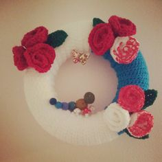 Alice in Wonderland Crochet floral wreath with caterpillar, toadstools and roses by WoollyMoon, £20.00