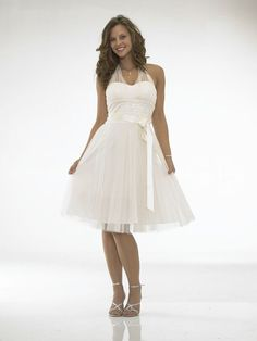 Short White Dresses | Popular short halter top knee length white prom dress x381