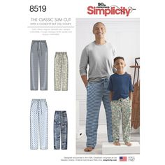 Sewing Patterns Simplicity Sewing Pattern The Classic Slim Cut Boys Mens Lounge Pants 8519 & Garden Mens Sewing Patterns, Simplicity Sewing Patterns, Clothing Patterns, Diy Clothing, Closer, Mens Lounge Pants, Sports Trousers, Slim Fit Trousers, Plaid Fabric