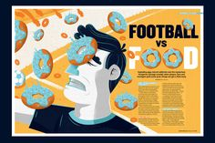 Editorial illustration about food related stories for FourFourTwo, a football ma… Editorial illustration about food related stories for FourFourTwo, a football magazine in the UK. Editorial Illustration, Magazine Illustration, Cute Illustration, Layout Inspiration, Graphic Design Inspiration, Magazine Layout Design, Editorial Design Magazine, Editorial Layout, Magazin Design