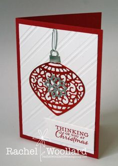 Red and White Delicate ornament by Rach W - Cards and Paper Crafts at Splitcoaststampers Stamped Christmas Cards, Homemade Christmas Cards, Christmas Cards To Make, Xmas Cards, Handmade Christmas, Homemade Cards, Holiday Cards, Christmas Ornament, Christmas 2015