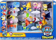 Paw Patrol is on a roll with the Super Pups! This Super Pups Gift Pack is found exclusively at Walmart and includes Chase Skye Rubble Zuma Marshall and Rocky! These pups are ready for a high-flyi...