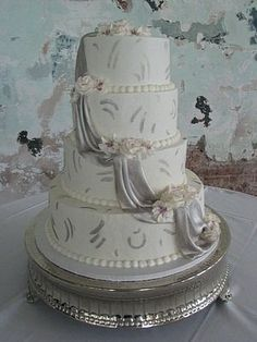 Elegant New Years  Modern Winter Silver White Round Wedding Cake WeddingWire.com
