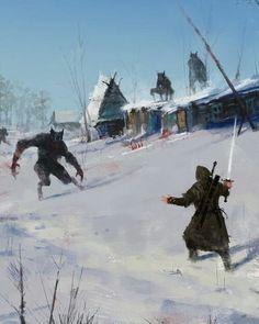 Werewolf Raid on mountain hamlet snow forest m Ranger Leather Cloak Sword A Very Severe Winter by Jakub Rozalski Dark Fantasy, Fantasy Concept Art, Medieval Fantasy, Sci Fi Fantasy, Fantasy Artwork, Fantasy World, Werewolf Art, Vampire, Fantasy Kunst