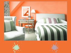 Armoniosi colori pastello glassati di zucchero, come il pistacchio chiaro e il malva polvere, attenuano l'arancio acceso della scorza candita. Una tavolozza di colori dolci e aromatici per una golosa camera da letto, ti piace?  #orange #palette #colourfull #bedroom #interiordesign