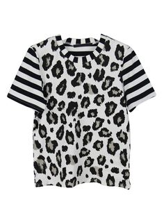Black And White Leopard T-shirt With Contrast Striped Sleeves   Choies