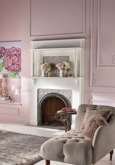 Pretty in pastels. Moulding and trim are painted the same shade of Be Mine from Behr, adding a romantic element to the room.  See more pastel decorating inspiration.