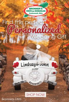 Searching for the perfect gift idea? Bronner's can help with great keepsakes to celebrate weddings, anniversary, and other loving occasions. Personalized Ornaments, Personalized Wedding Gifts, 1st Christmas, Christmas Tree Ornaments, Wedding Gift Ornaments, Wedding Blessing, Christmas Wonderland, Unique Wedding Gifts, Heart Ornament