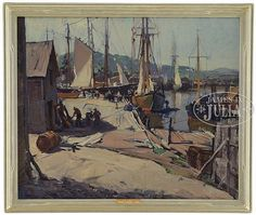 """""""Drying Sails, Gloucester,"""" Emile A. Gruppe, 25"""" x 30"""", oil on canvas, private collection."""