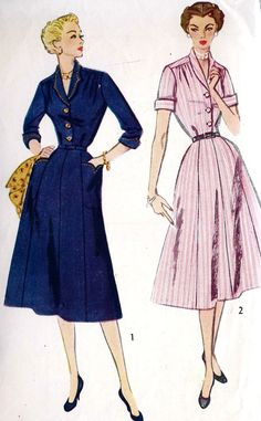 1950s Misses' and Women's One-Piece Dress
