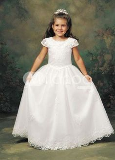 a7074adfa25d New Style Short Sleeves A-line Long Applique Dress In Canada Flower Girl  Dress Prices