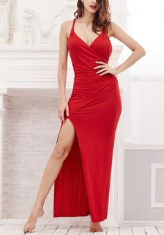 Red Side-Slit Evening Dress.... SEXY MAMA!
