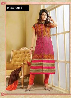 Beautifully designed cotton Straight cut Salwar Suit Pink and Orange with beautiful embroidery work done. Comes along with Matching Cotton Bottom and Chiffon Duppatta.