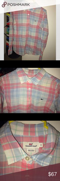 Vineyard Vines Preppy Pastel Plaid Button Up Sz 2 Vineyard Vines Preppy Pastel Plaid Button Up Sz 2. Super cute under a blazer, with work pants, jeans, or in the summer with high waisted shorts or white pants! Super classy. Vineyard Vines Tops Button Down Shirts