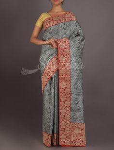 Meghna Grey Printed Silk With Contrast Work Border #ChikankariSilkSaree