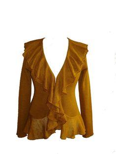 women's yellow cardigan, linen blazer, knitted linen cardigan, mustard, yellow, brown, women linen clothes, linen knitwear, linen knit