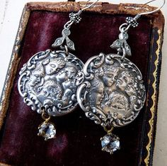 :  Antique Cherub Button Earrings