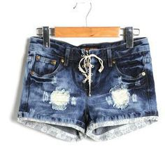 Lace-Up Distressed Denim Shorts from #YesStyle