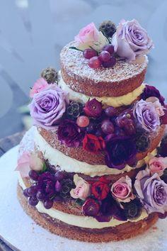 gorgeous purple naked wedding cake ideas