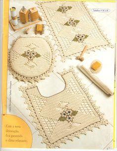 Crochê Fascínio: Jogo de tapetes para banheiro- gráfico do jogo de tapetes para cozinha