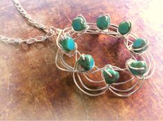 Czech Glass and Silver Wire Wrapped Pendant