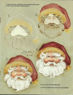 How to paint a Santa face. This is a Jeanne Zawicki pattern from decorative painting. Santa Paintings, Christmas Paintings, Christmas Art, Father Christmas, One Stroke Painting, Painting & Drawing, Pintura Tole, Santa Face, Santa Head