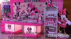 Decoración minnie, coqueta, tortas, bocaditos personalizados, castillos, toldos