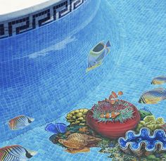 Create an underwater oasis with a wide verity of Ceramic Mosaic Art sea creatures. This scene consists of one Coral Reef B, one Saddled Butterfly Fish, two Redfin Butterfly Fish and two Thread fin Butterfly Fish. Swimming Pool Mosaics, Swimming Pool Designs, Swimming Pools, 3d Pool, Saunas, Mosaic Art, Mosaic Tiles, Crazy Pool, Pool Installation