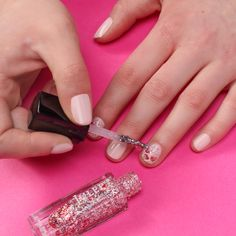 When all else fails, add an accent nail. #nailart #glitter #pink #glossyboxpink