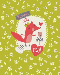 Love You Too by Lizzie Mackay Pattern Illustration, Graphic Design Illustration, Doodles Bonitos, Cute Doodles, Cute Characters, Christmas Characters, Woodland Creatures, Kids Prints, Cute Art