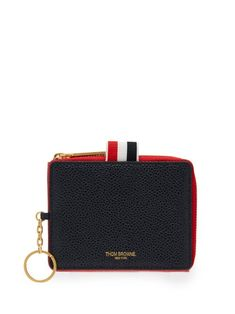 THOM BROWNE THOM BROWNE - PEBBLED LEATHER WALLET - MENS - RED MULTI.   thombrowne 800fa174292e0