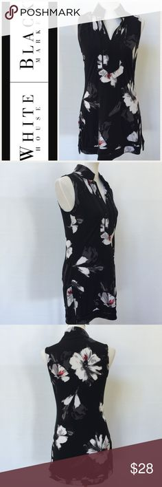 """WHBM Floral Sleeveless Tunic EUC.  Multicolored sleeveless floral print tunic.  Measurements are as follows and approximate, taken while garment was laying flat.  Underarm to underarm:  17"""".  Shoulder to hem:  28.5"""". Logo is internet stock photo.  All other photos are of actual tunic. White House Black Market Tops Tunics"""
