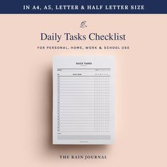 To Do Lists Printable, Daily Planner Printable, Printables, Home Planner, Planner Ideas, Daily Checklist, Desk Stationery, Journal Diary, Office And School Supplies