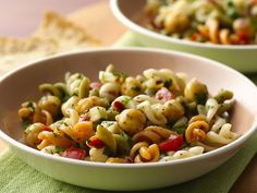 Trader Joe's middle eastern pasta salad with feta cheese, chickpeas and a lemon oregano dressing.