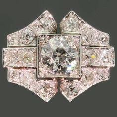 Antique jewelry Estate diamond bow engagement ring 18K white gold