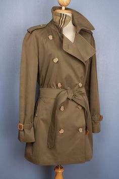 Womens BURBERRY vintage bespoke short trench coat green - size 14/16 XL