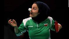 Iran's Neda Shahsavari plays a first-round table tennis match on…