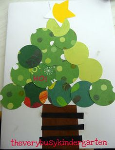 circle christmas tree with scrapbook paper