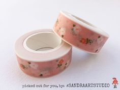 New to SandraArtStudio on Etsy: Washi tape pink salmon with pretty little flowers pattern printed paper tape embellishment craft tape (2.50 EUR)