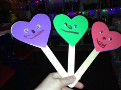 happy heart stick puppets