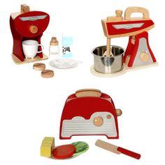 Red Retro Toy Kitchen Accessories Set - 3 Pk
