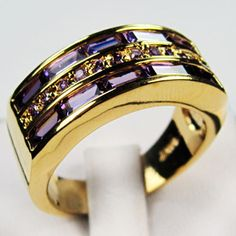 'Size 10, 11 Men's 10K Yellow Gold-Filled Amethyst Ring' is going up for auction at  1am Thu, Oct 25 with a starting bid of $8.